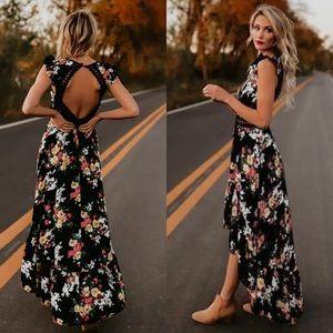 Dresses & Skirts - Black boho florals maxi highlow summer dress